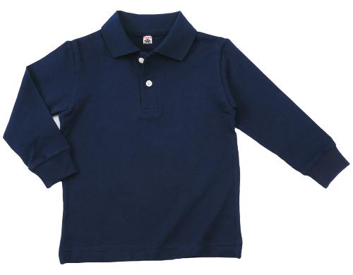 12500|国産無地ポロシャツ|グランロボ 綿100%ポロシャツ(長袖)(12500 3 ネイビー)