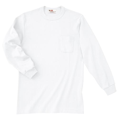 25001|国産無地Tシャツ|長袖スムースTシャツ(ポケット付)(1 白)